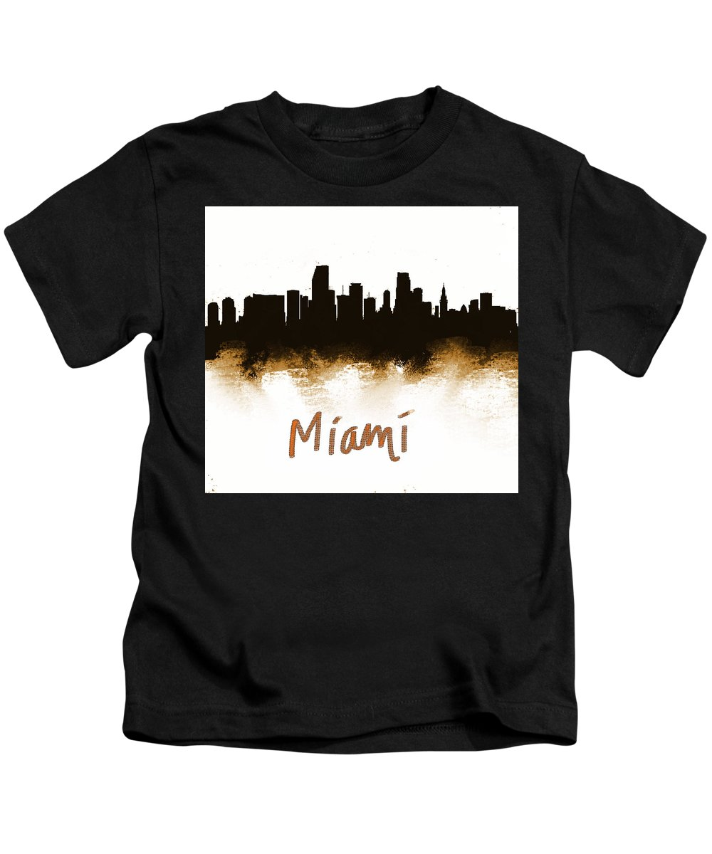 Kids T-Shirt featuring the painting Miami Fla 2 Skyline by Enki Art