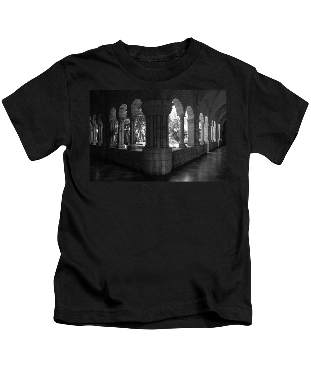 Black And White Kids T-Shirt featuring the photograph Miami Monastery In Black And White by Rob Hans