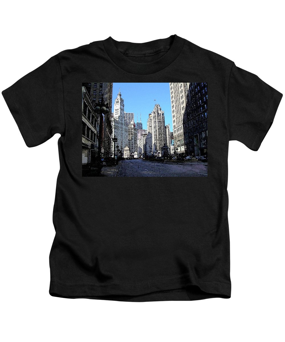 Chicago Kids T-Shirt featuring the digital art Michigan Ave Wide by Anita Burgermeister