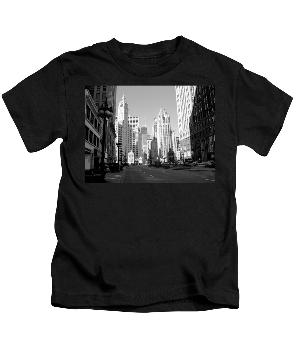 Chicago Kids T-Shirt featuring the photograph Michigan Ave Wide B-w by Anita Burgermeister