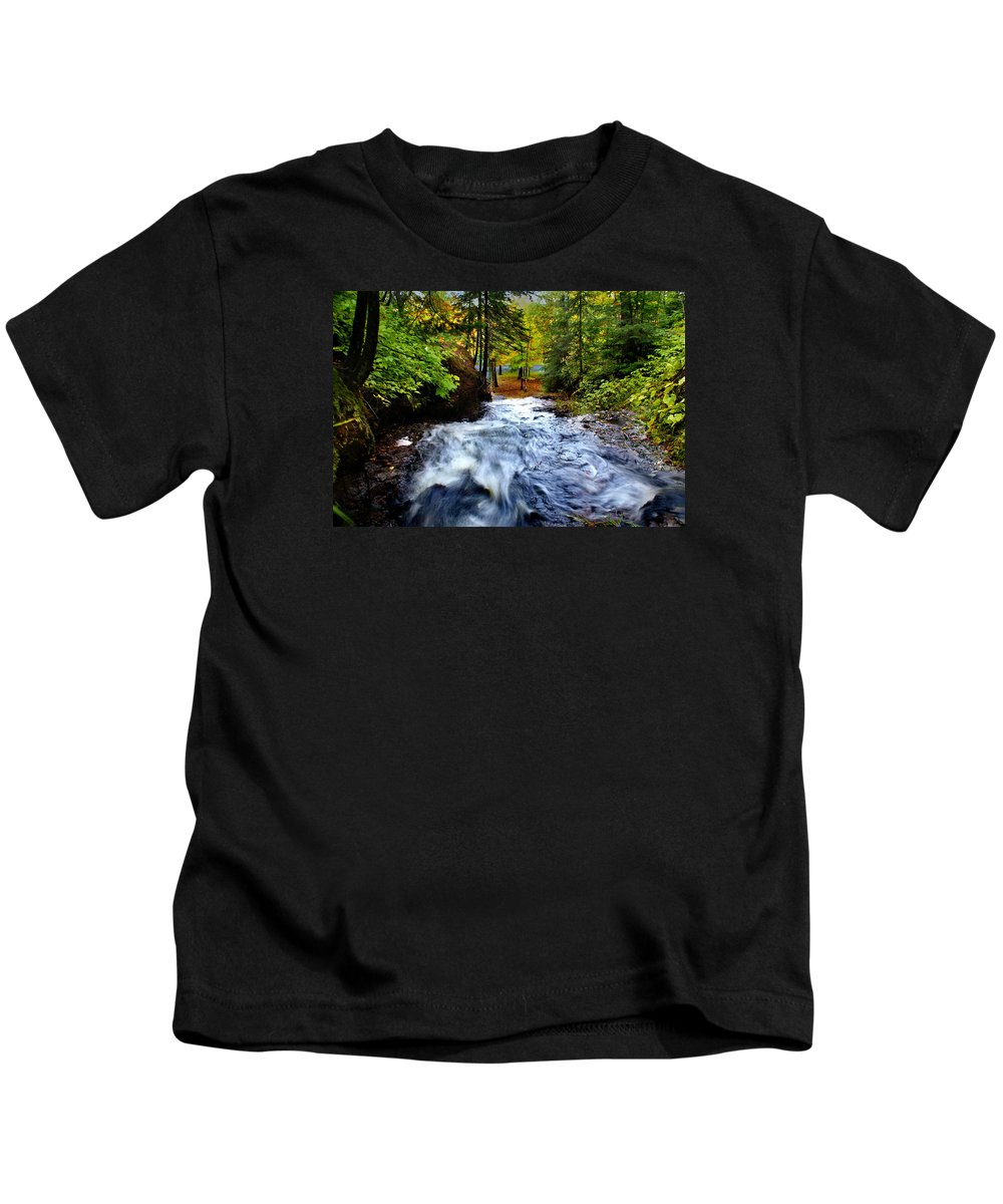 Waterfall Kids T-Shirt featuring the photograph Michigan Waterfall by Martin Massari
