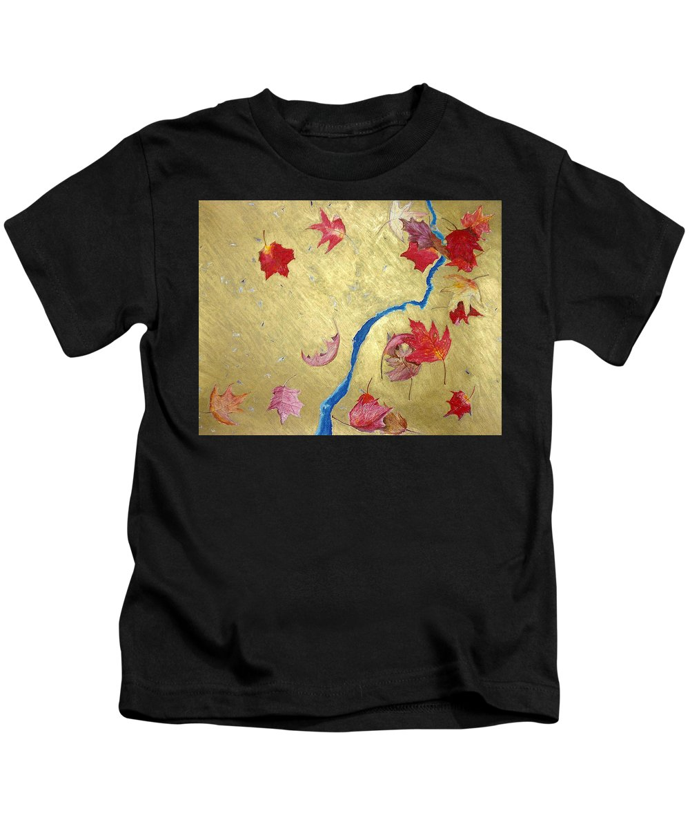 Abstract Kids T-Shirt featuring the painting Midas Fall by Steve Karol
