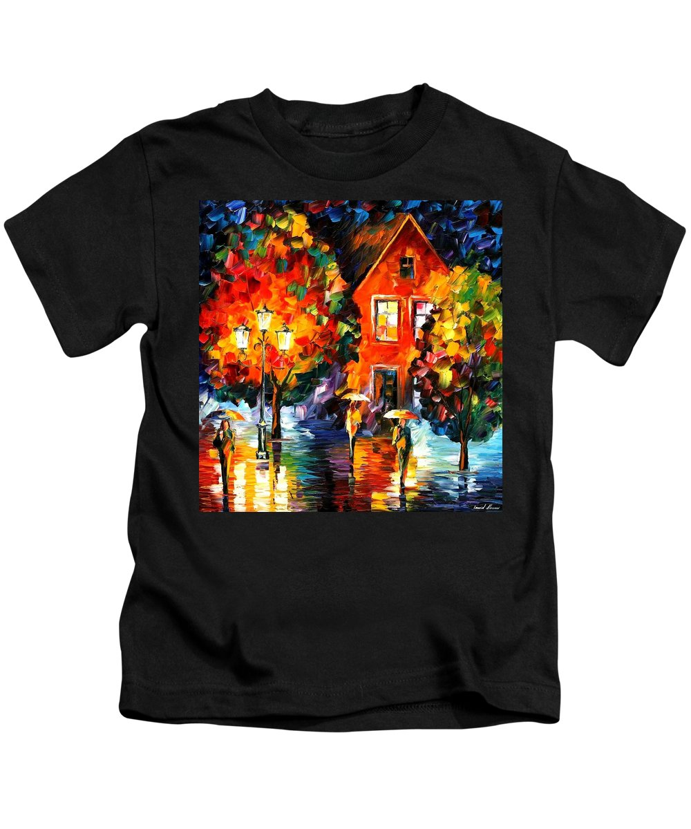 Afremov Kids T-Shirt featuring the painting Midnight Rain by Leonid Afremov