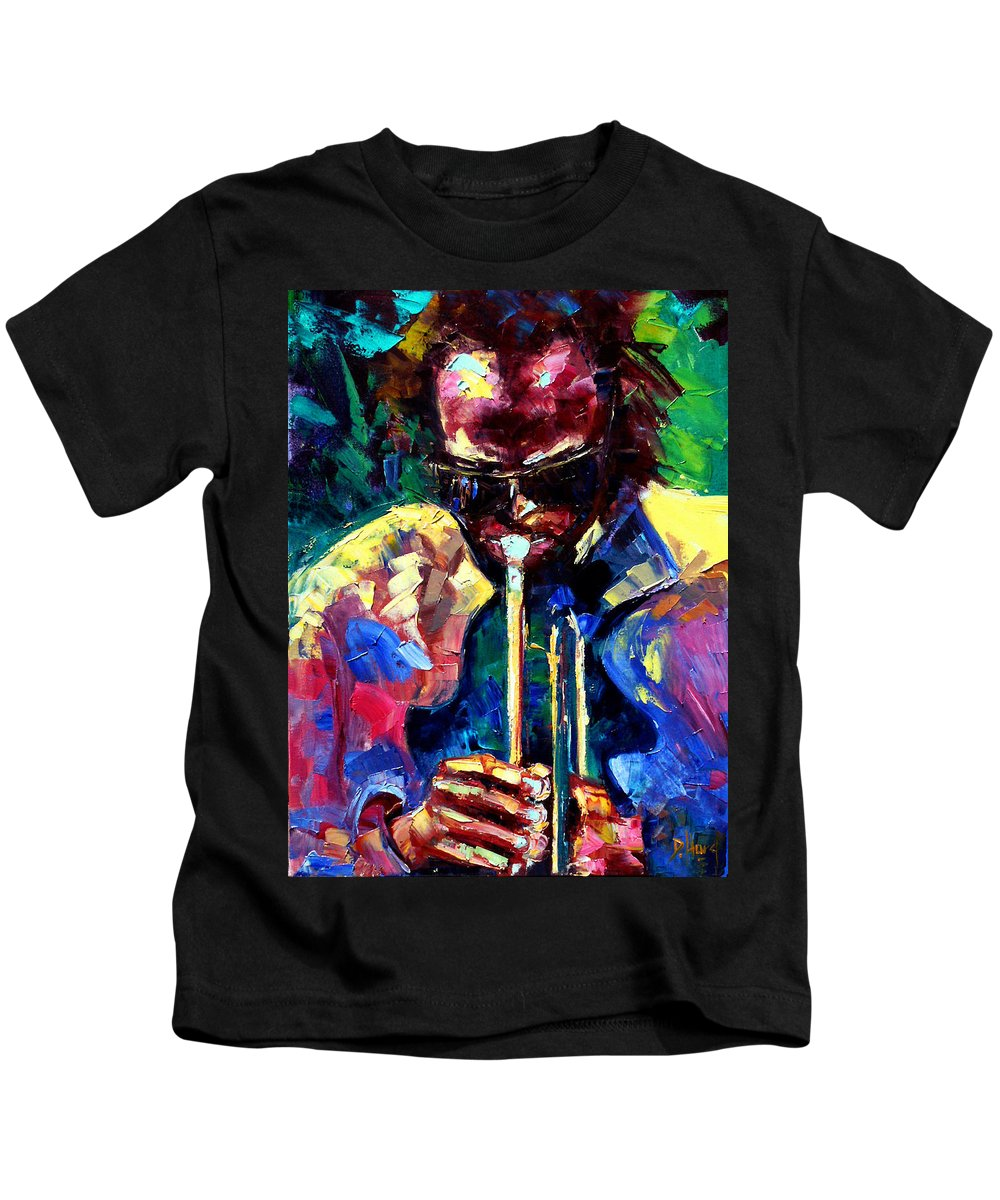 Jazz Kids T-Shirt featuring the painting Miles And Yellow by Debra Hurd