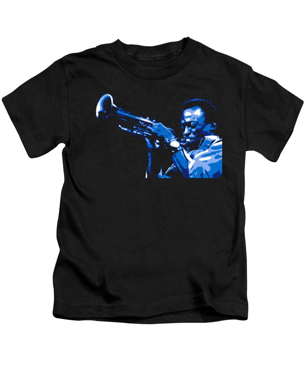 Miles Davis Kids T-Shirt featuring the digital art Miles Davis by DB Artist