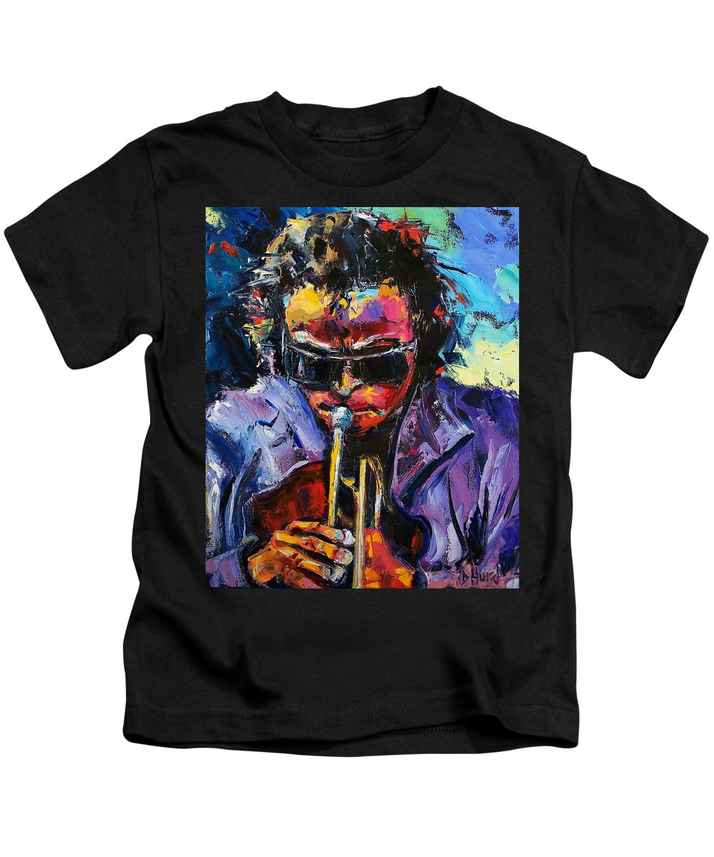 Miles Davis Kids T-Shirt featuring the painting Miles Davis by Debra Hurd