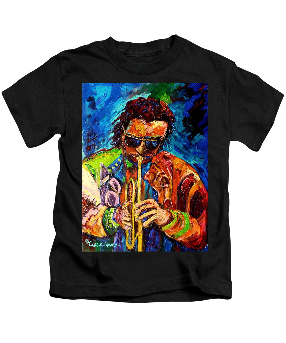 Miles Davis Hot Jazz Kids T-Shirt featuring the painting Miles Davis Hot Jazz Portraits By Carole Spandau by Carole Spandau