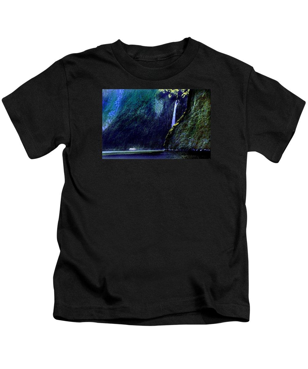 Milford Falls Kids T-Shirt featuring the photograph Milford Falls by Martin Massari