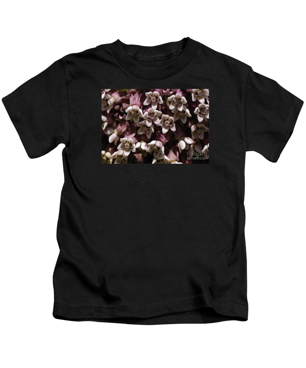 Milkweed Kids T-Shirt featuring the photograph Milkweed Florets by Randy Bodkins