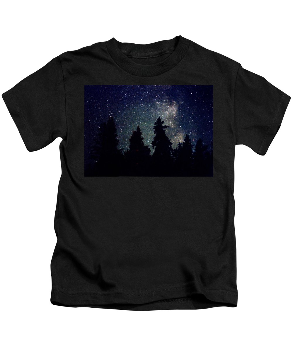 Milky Way Kids T-Shirt featuring the photograph Milky Way Above Northern Forest 22 by Lyle Crump
