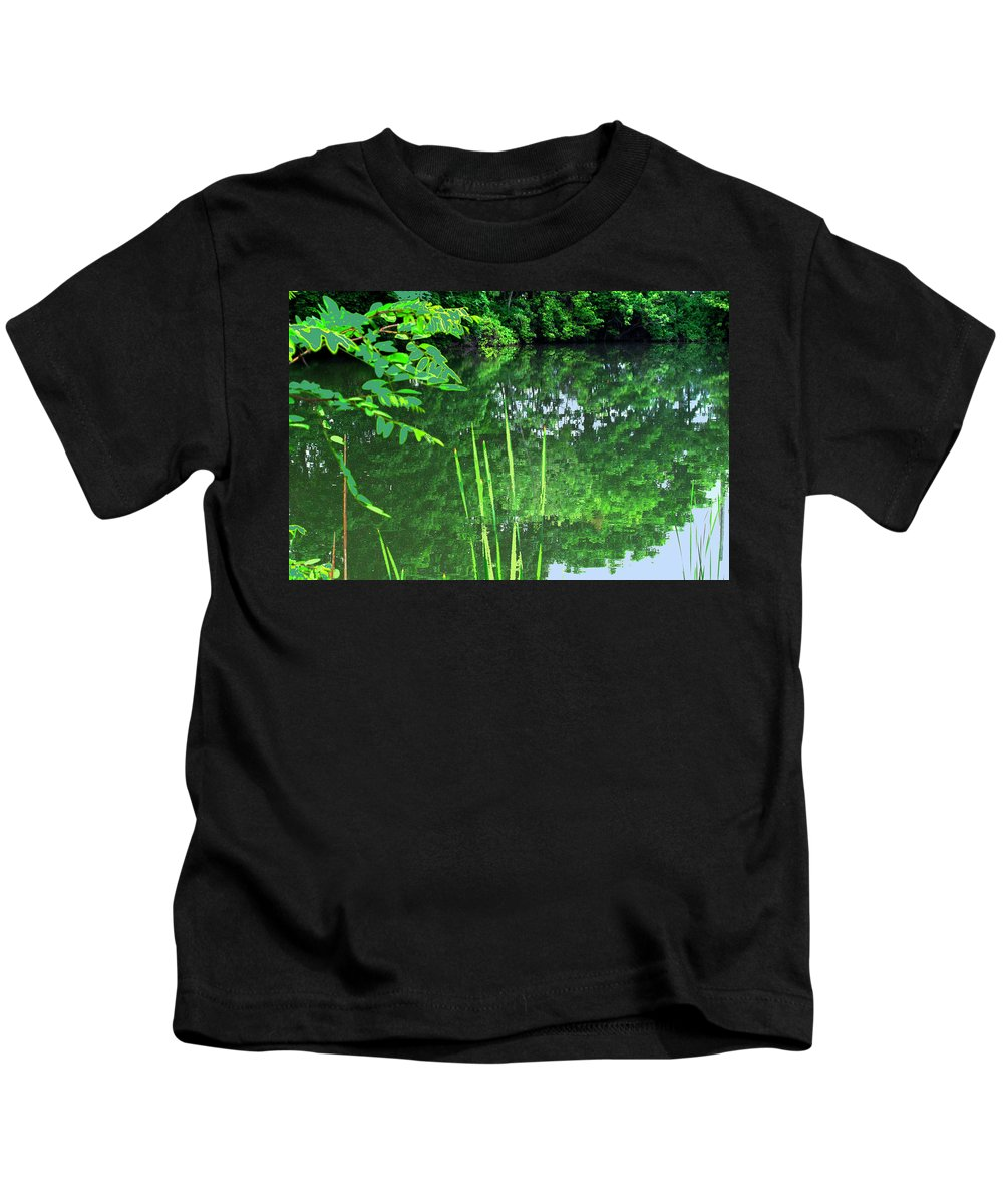 Black Creek Kids T-Shirt featuring the photograph Mill Pond Reflections by Ian MacDonald