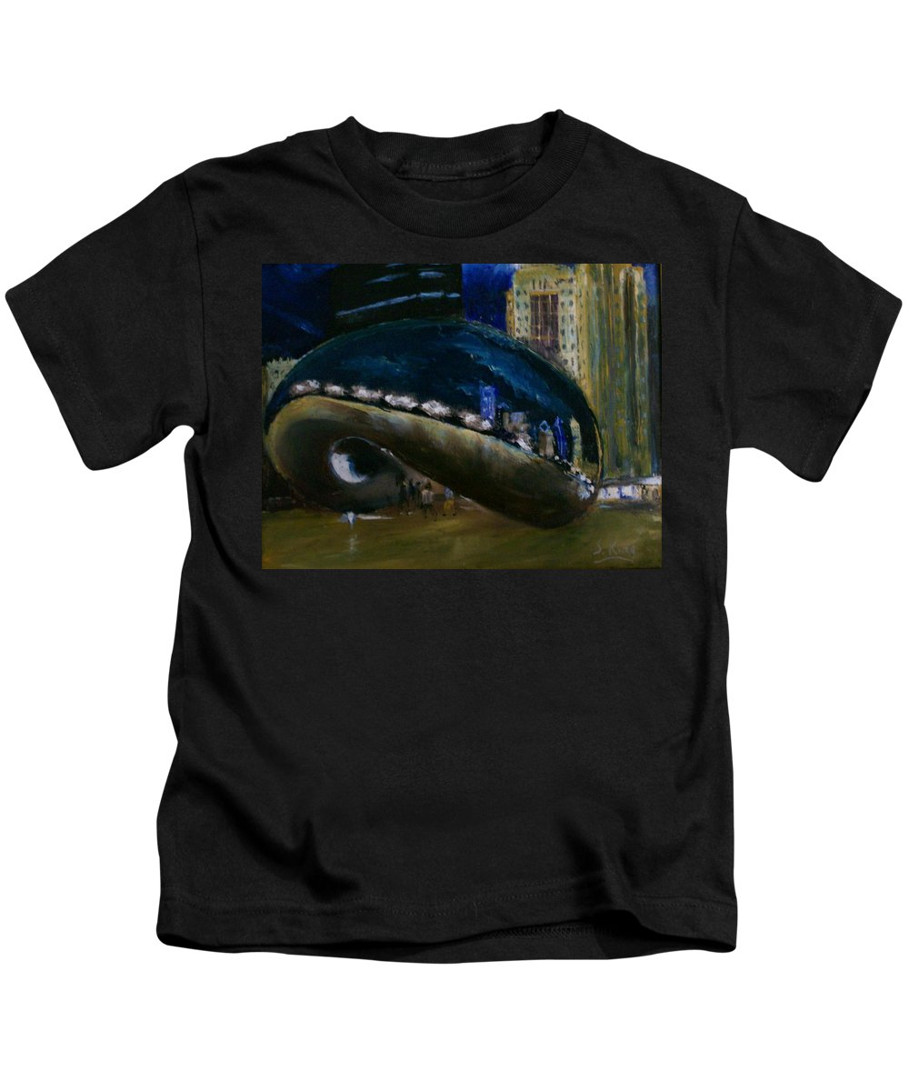 Cityscape Kids T-Shirt featuring the painting Millennium Park - Chicago by Stephen King