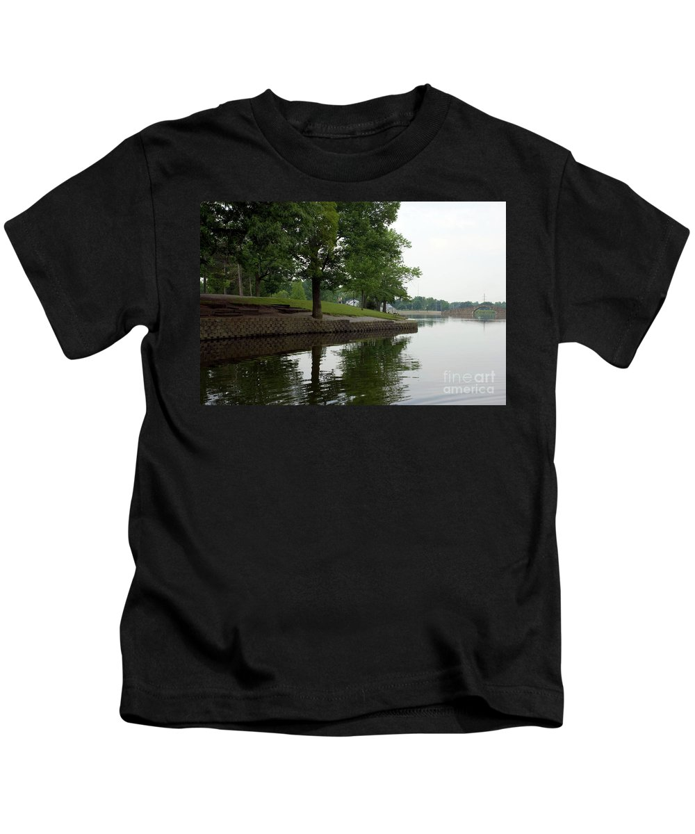 Backgrounds Kids T-Shirt featuring the photograph Miller Park Lake by Alan Look