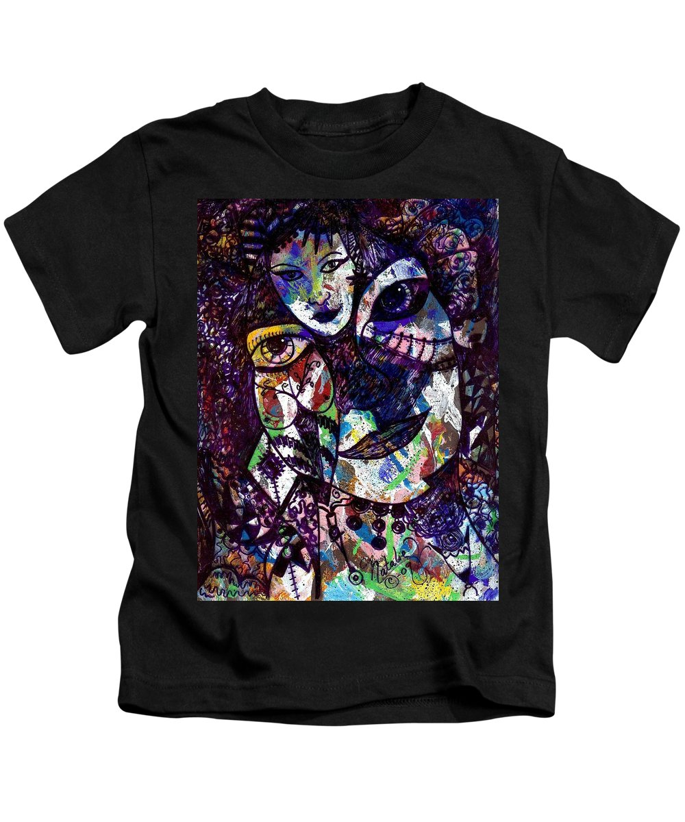 Female Kids T-Shirt featuring the painting Mind Reader by Natalie Holland