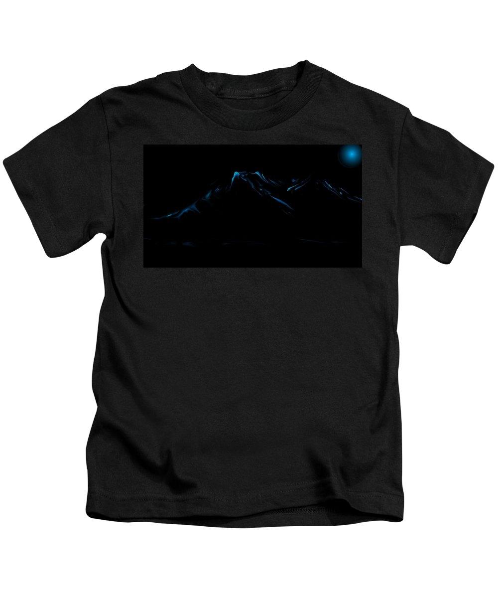 Digital Art Kids T-Shirt featuring the digital art Minimal Landscape Blue by David Lane