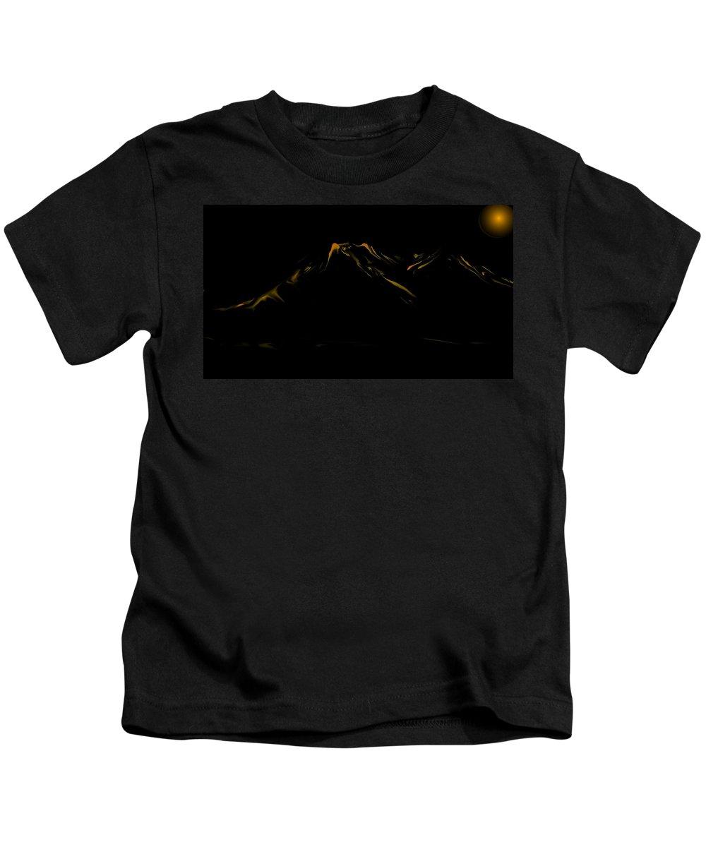 Digital Art Kids T-Shirt featuring the digital art Minimal Landscape Yellow by David Lane