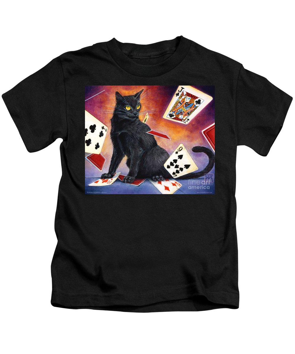 Cat Kids T-Shirt featuring the painting Mischief Kitten by Melissa A Benson