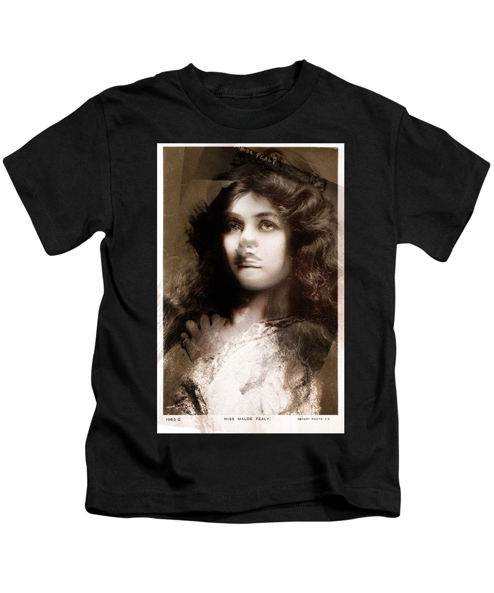 Kids T-Shirt featuring the painting Miss Maude Fealy by Maciej Mackiewicz