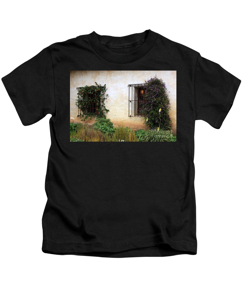 Vines Kids T-Shirt featuring the photograph Mission Windows by Carol Groenen