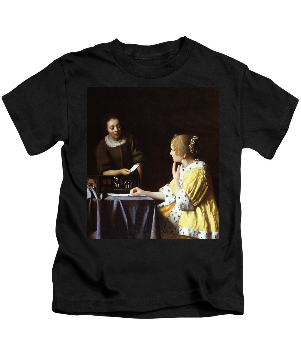 Jan Vermeer Kids T-Shirt featuring the painting Mistress And Maid by Jan Vermeer