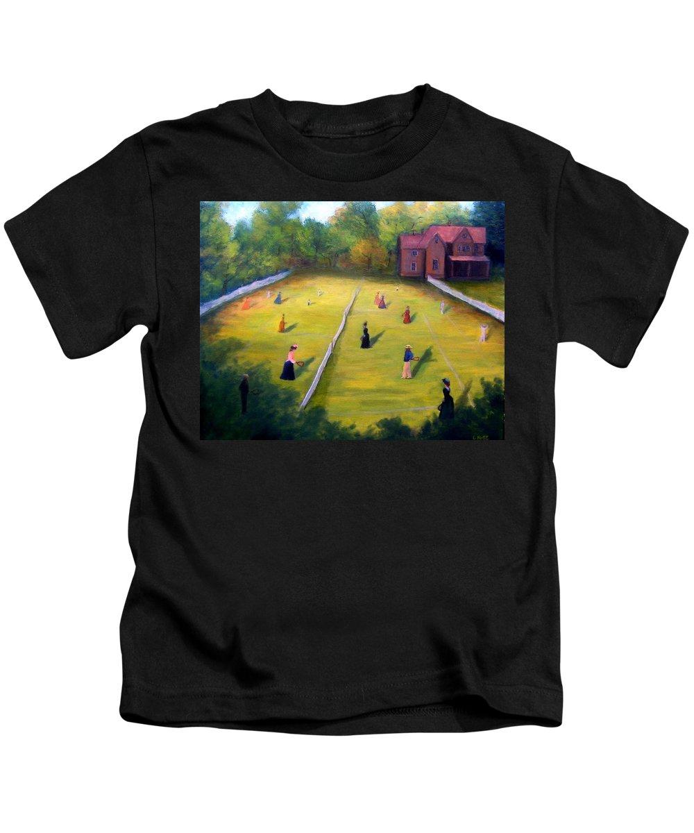 Tennis Art Kids T-Shirt featuring the painting Mixed Doubles by Gail Kirtz