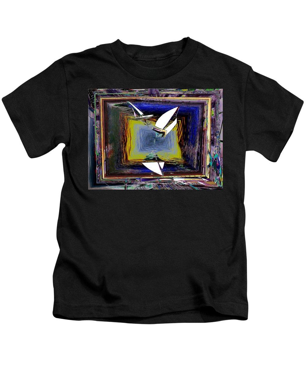 Sail Kids T-Shirt featuring the digital art Model Sailboats by Tim Allen