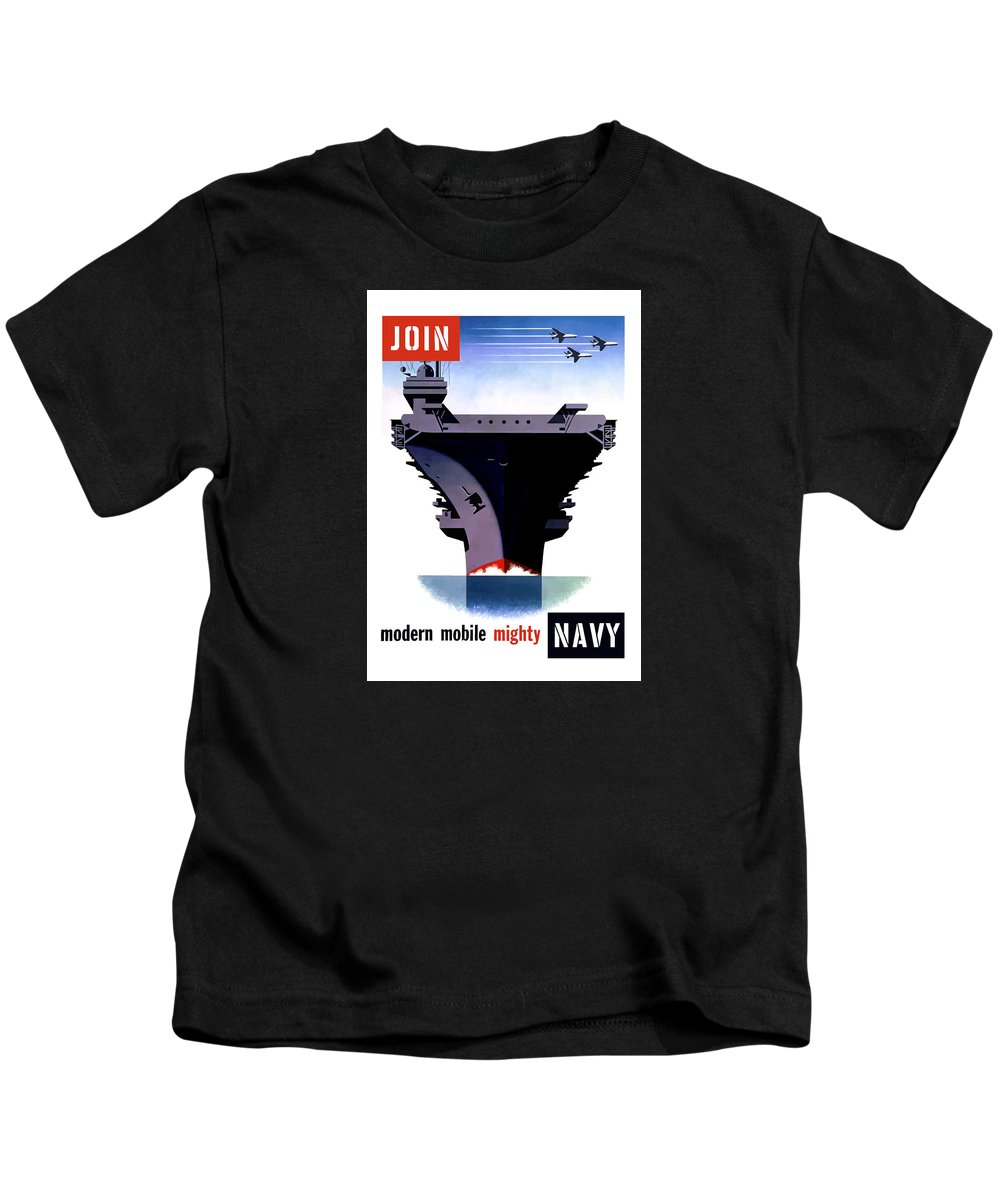Ww2 Kids T-Shirt featuring the painting Modern Mobile Mighty Navy by War Is Hell Store