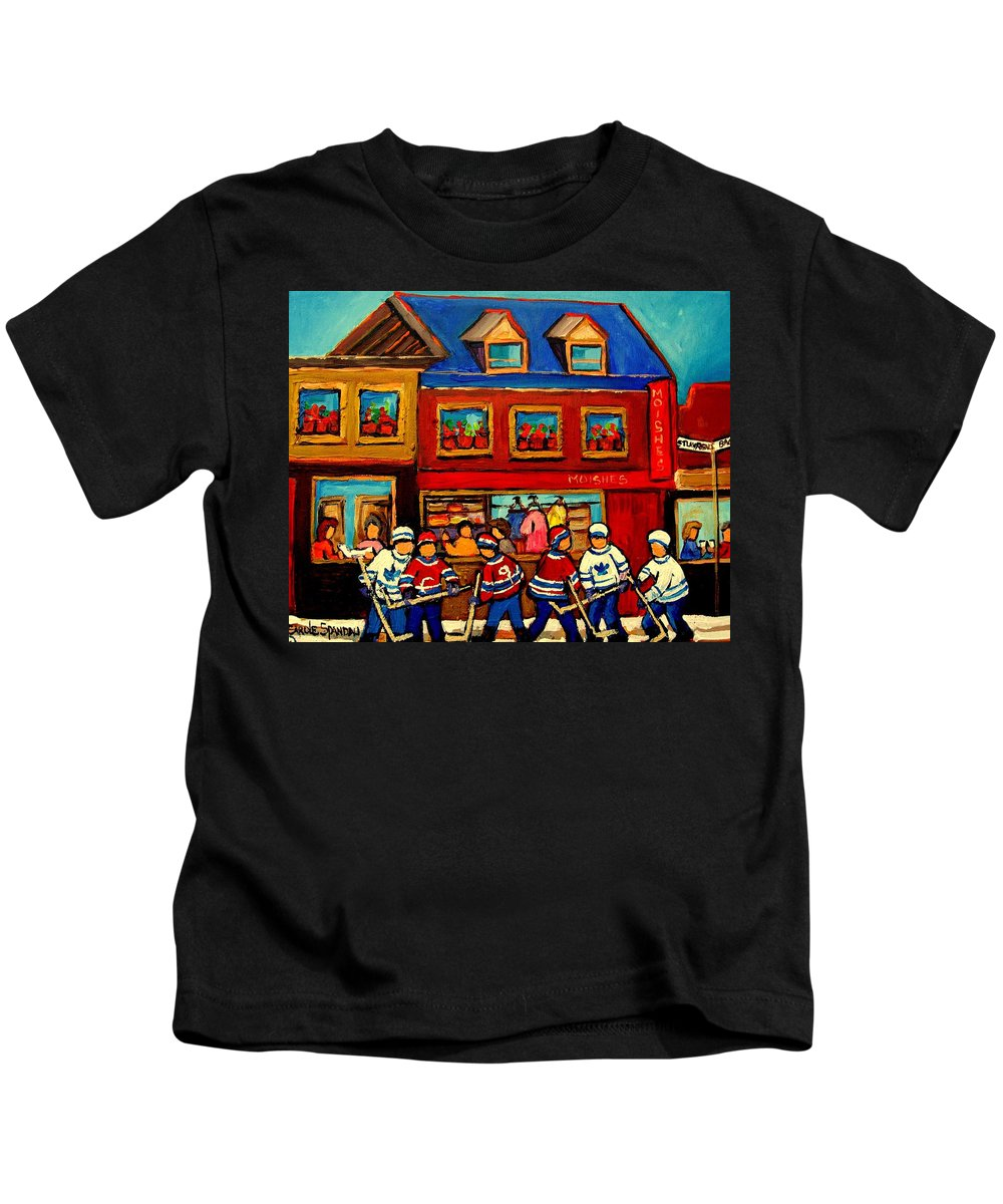 Moishes Steakhouse Kids T-Shirt featuring the painting Moishes Steakhouse Hockey Practice by Carole Spandau