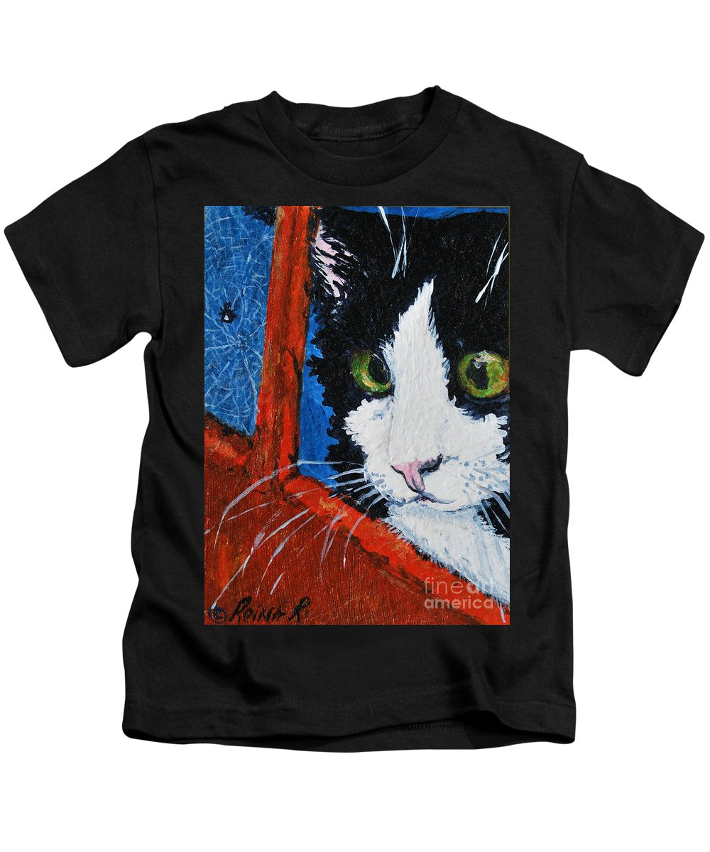 Cat Kids T-Shirt featuring the painting Molly by Reina Resto