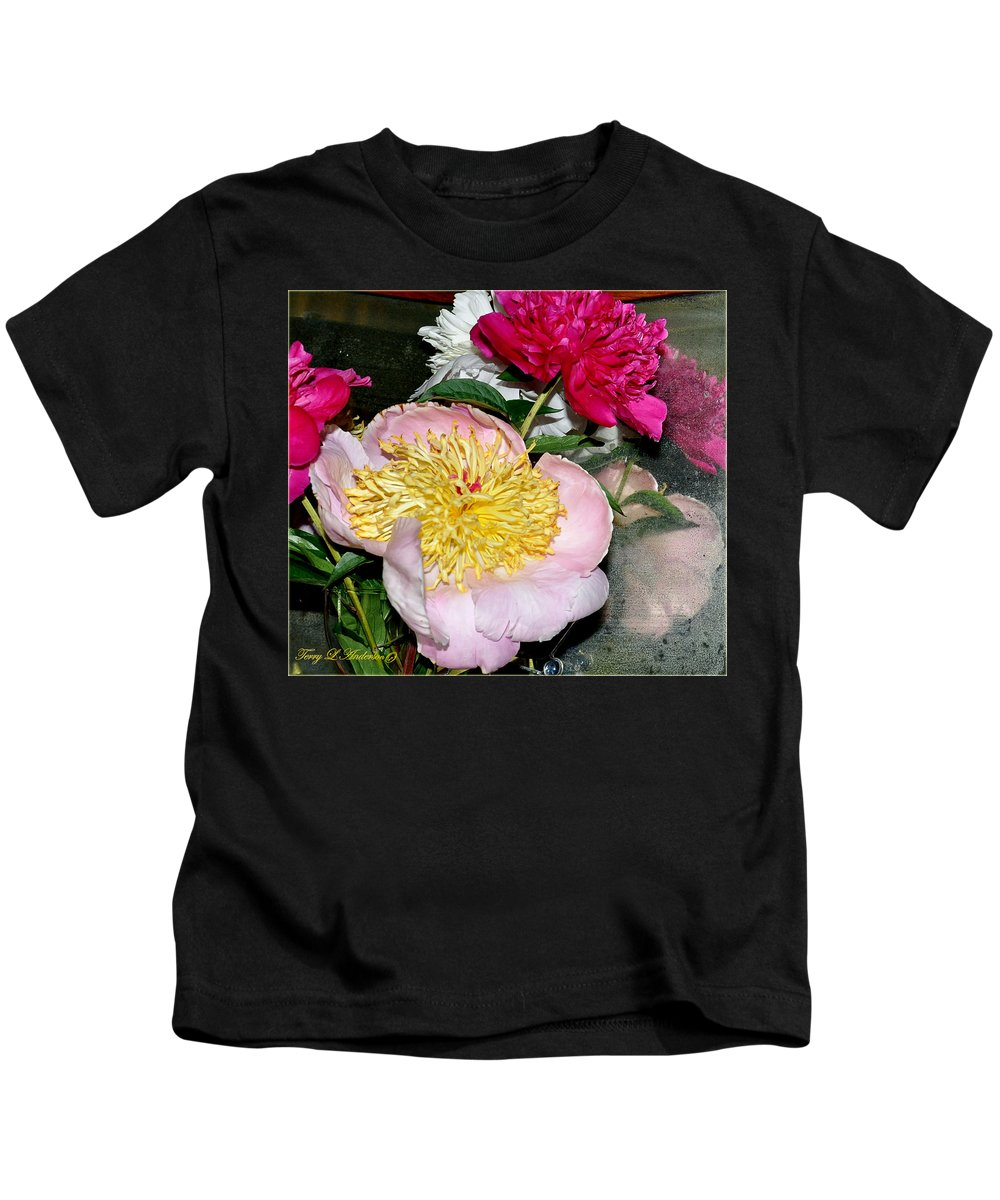 Flowers Kids T-Shirt featuring the photograph Mom's Peonies by Terry Anderson