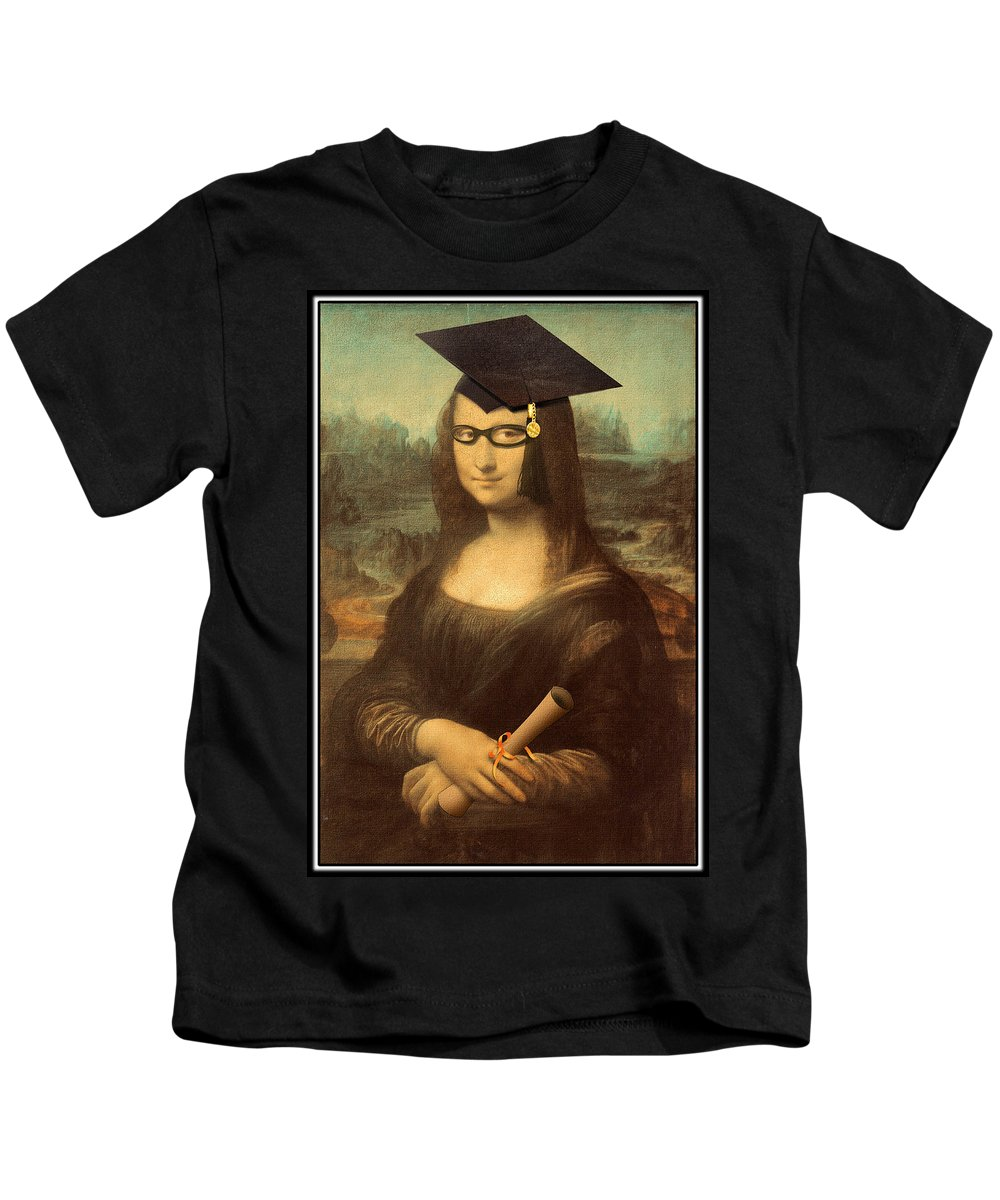 Davinci Kids T-Shirt featuring the painting Mona Lisa Graduation Day by Gravityx9 Designs