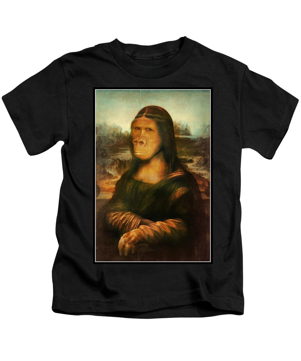 Primate Kids T-Shirt featuring the painting Mona Rilla by Gravityx9 Designs