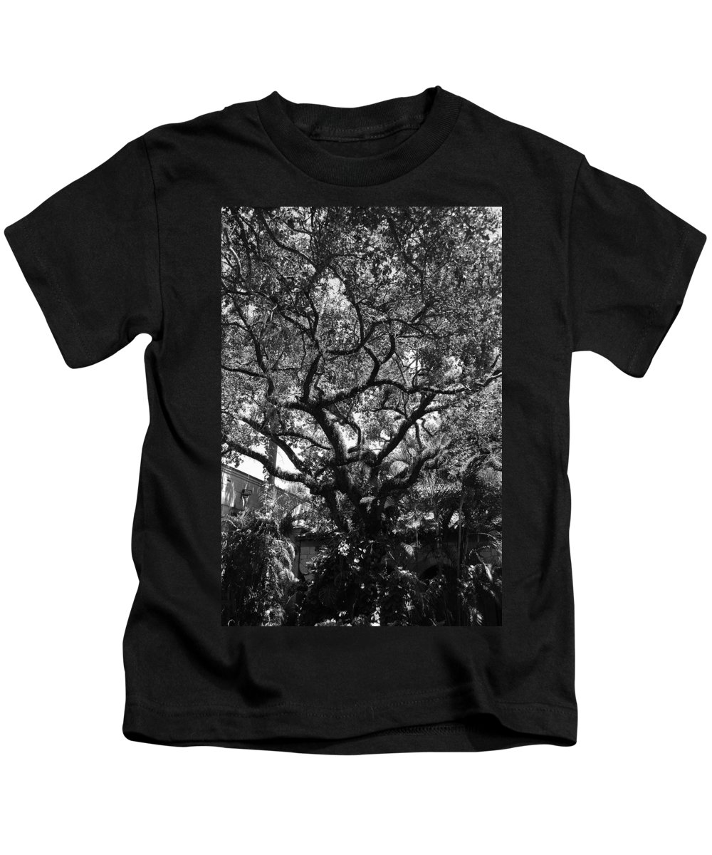 Black And White Kids T-Shirt featuring the photograph Monastery Tree by Rob Hans