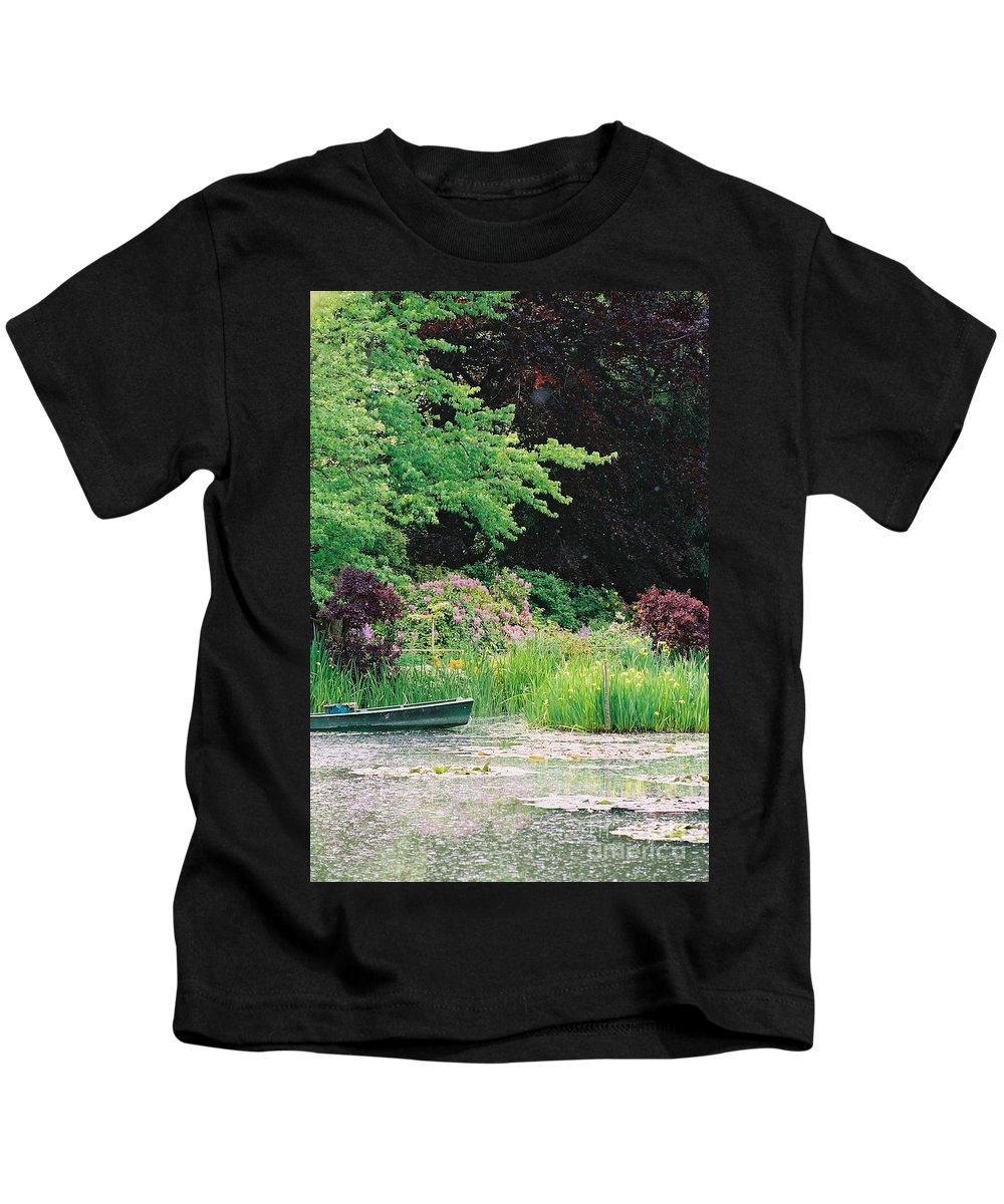 Monet Kids T-Shirt featuring the photograph Monet's Garden Pond And Boat by Nadine Rippelmeyer