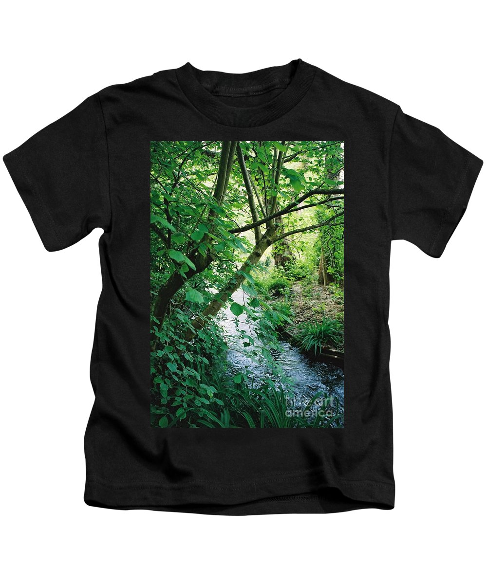 Photography Kids T-Shirt featuring the photograph Monet's Garden Stream by Nadine Rippelmeyer