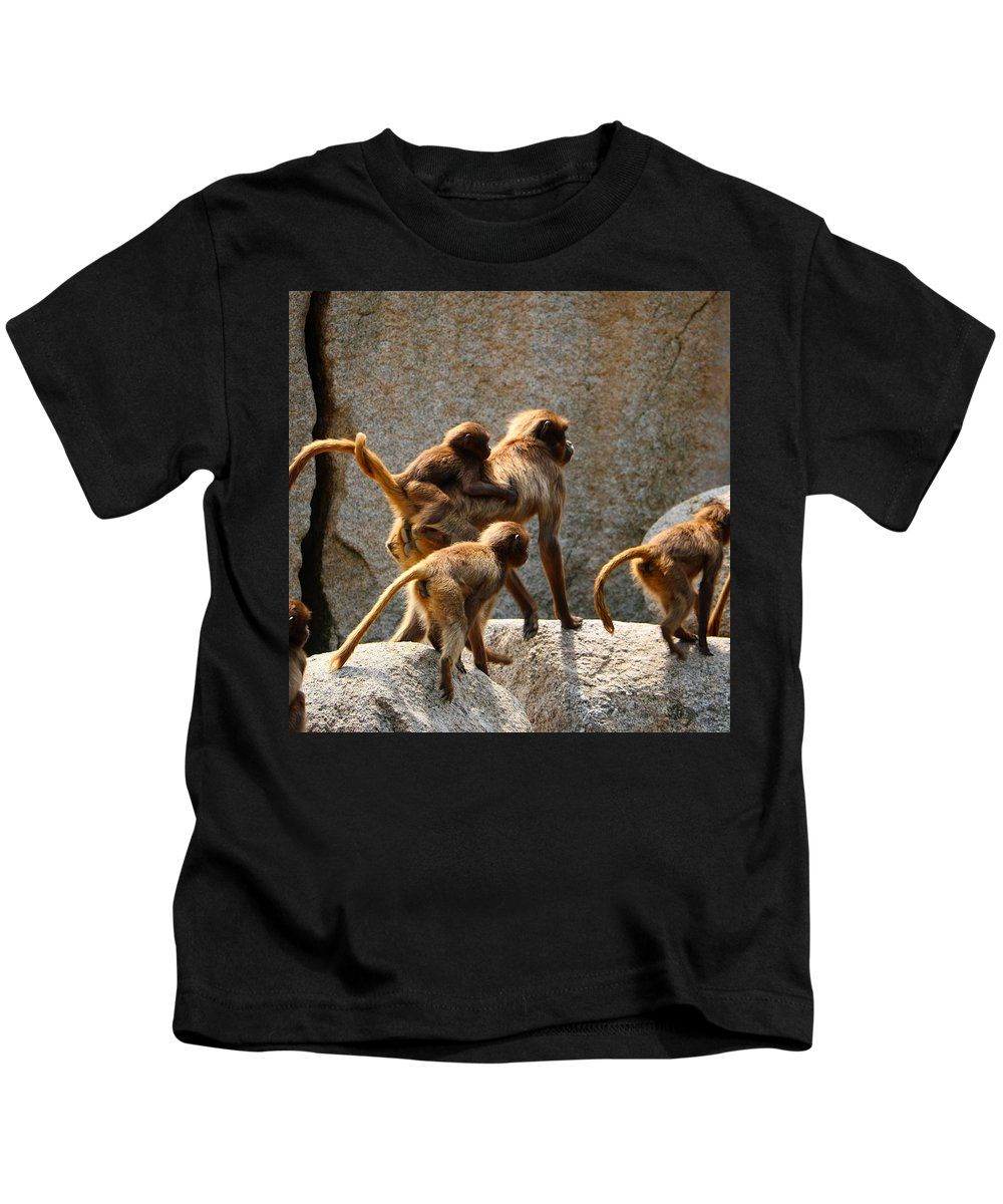 Animal Kids T-Shirt featuring the photograph Monkey Family by Dennis Maier