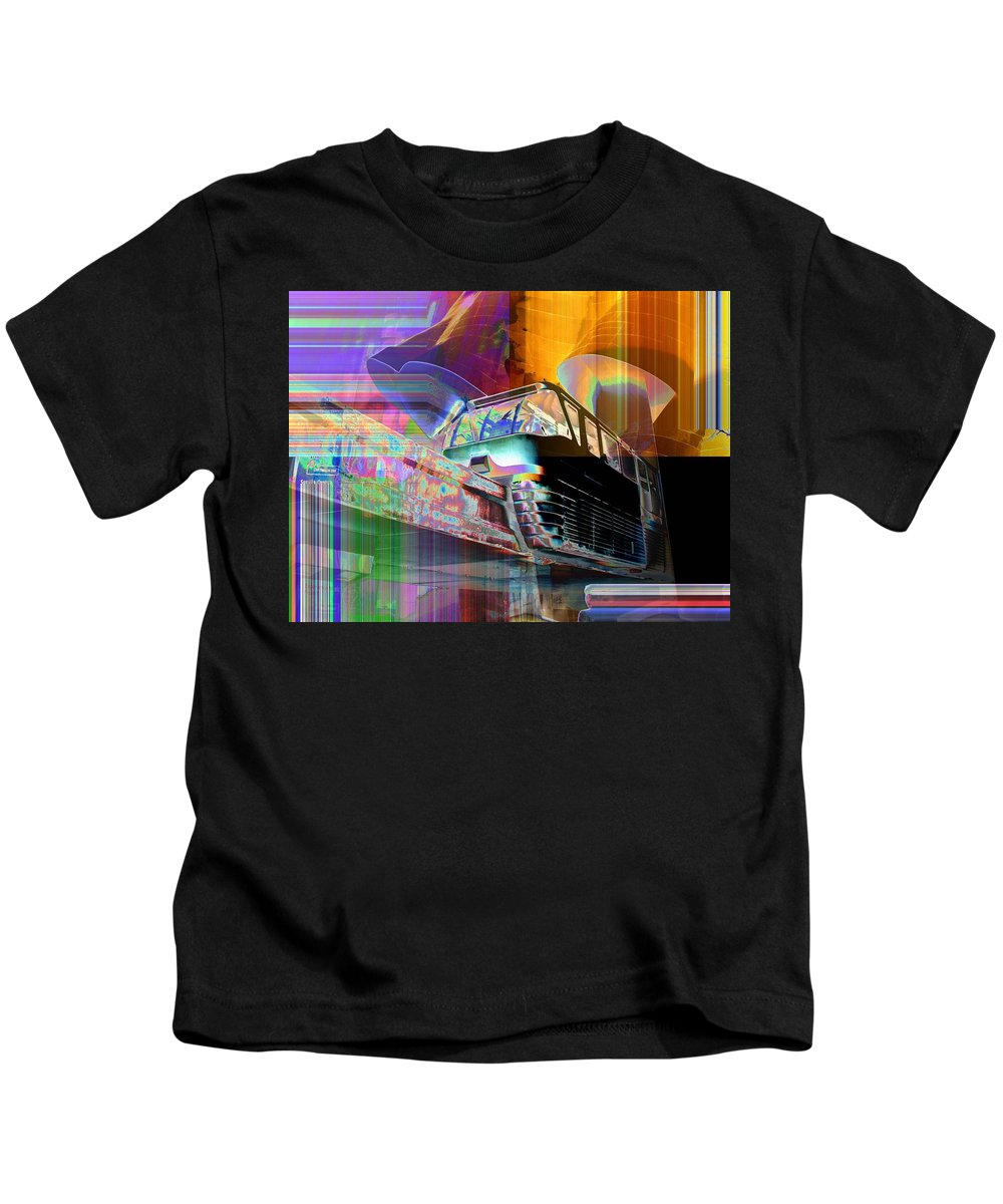 Seattle Kids T-Shirt featuring the digital art Monorail and EMP by Tim Allen