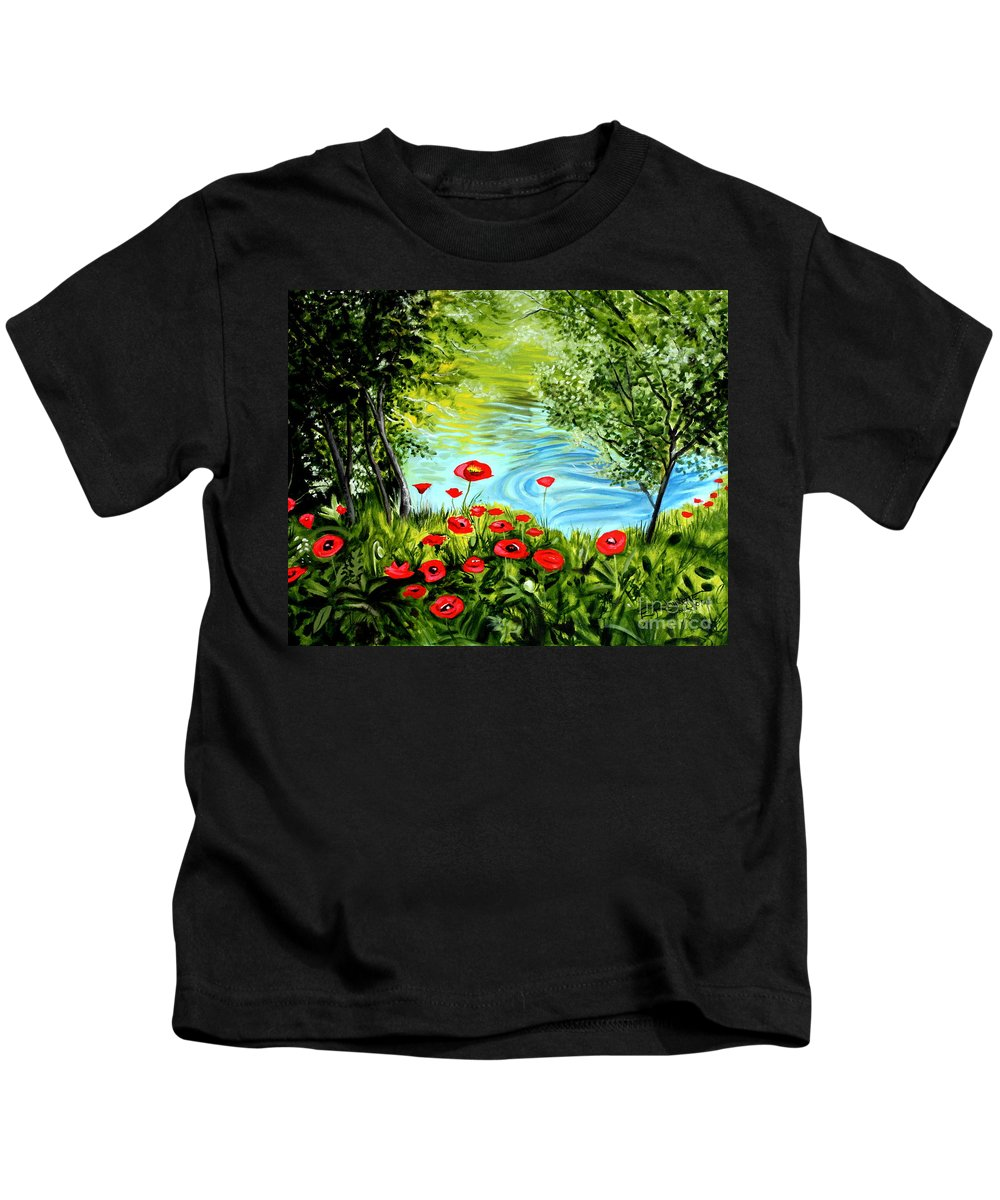 Landscape Kids T-Shirt featuring the painting Monte Rio Poppies by Elizabeth Robinette Tyndall