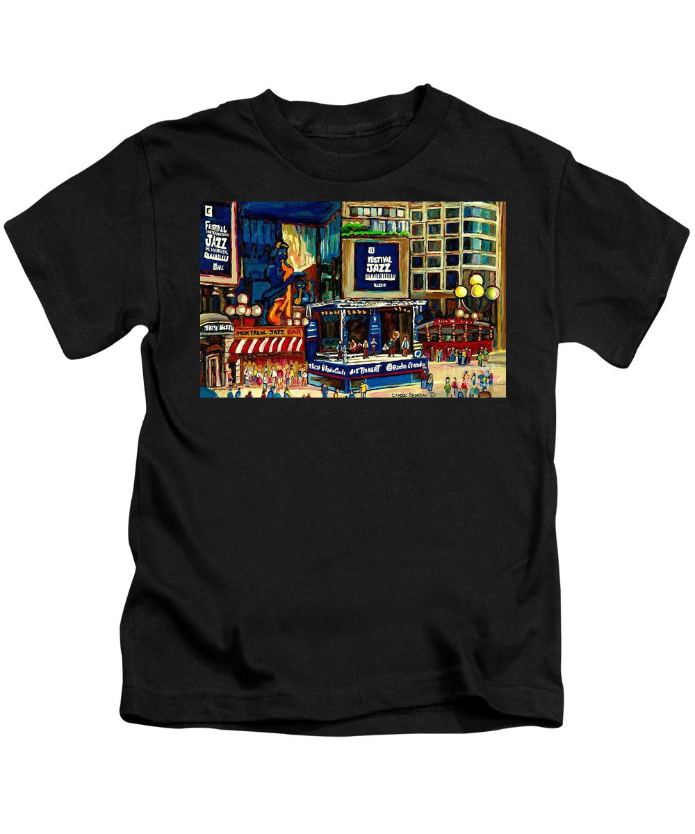 Montreal Kids T-Shirt featuring the painting Montreal Jazz Festival Arcade by Carole Spandau