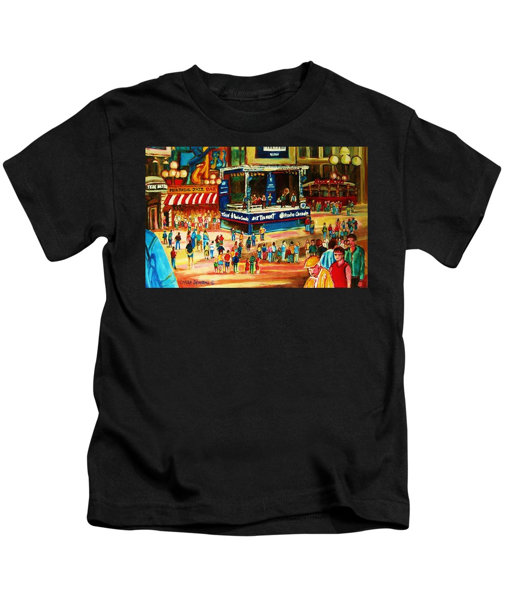 Montreal Kids T-Shirt featuring the painting Montreal Jazz Festival by Carole Spandau