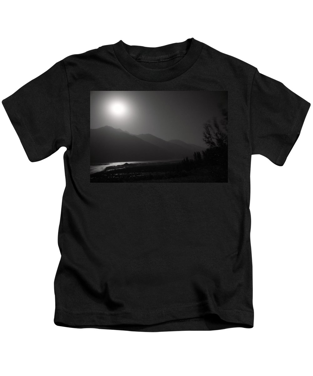 Asia Kids T-Shirt featuring the photograph Moon Above Pyandzh Valley by Konstantin Dikovsky