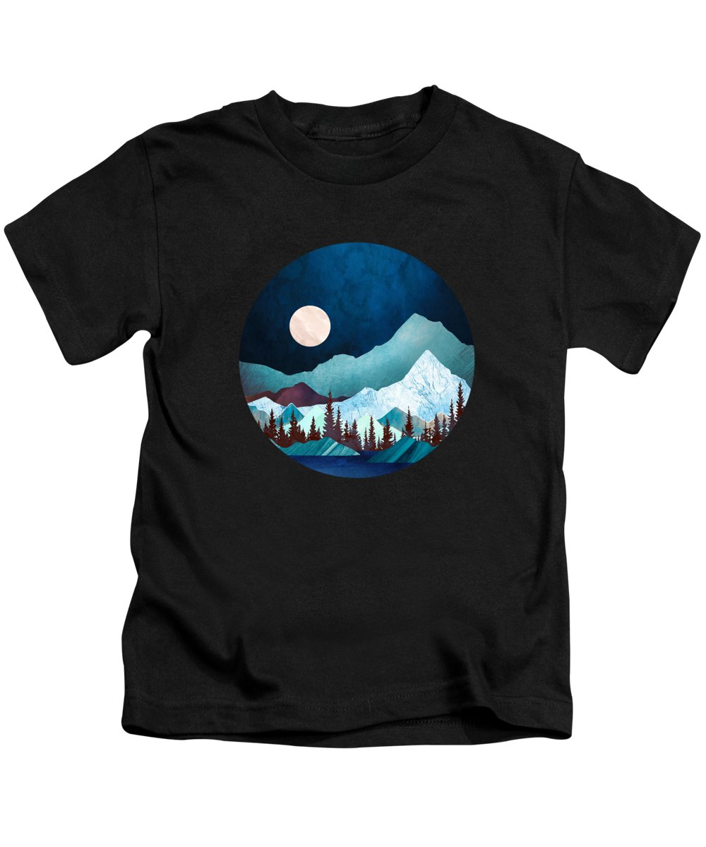 Digital Kids T-Shirt featuring the digital art Moon Bay by Spacefrog Designs