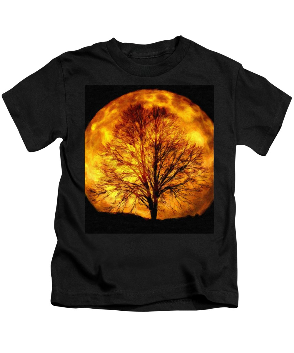 Kahl Kids T-Shirt featuring the painting Moon - Id 16236-105015-0839 by S Lurk