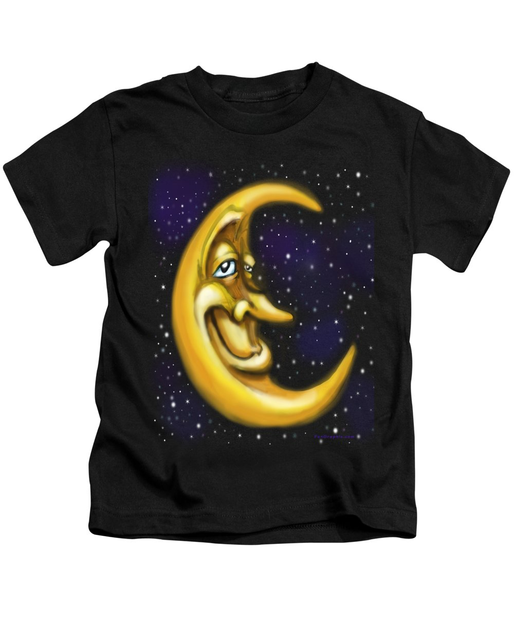 Moon Kids T-Shirt featuring the painting Moon by Kevin Middleton