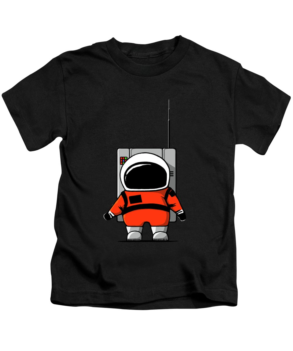 Ink-pen Kids T-Shirt featuring the digital art Moon Man by Nicholas Ely