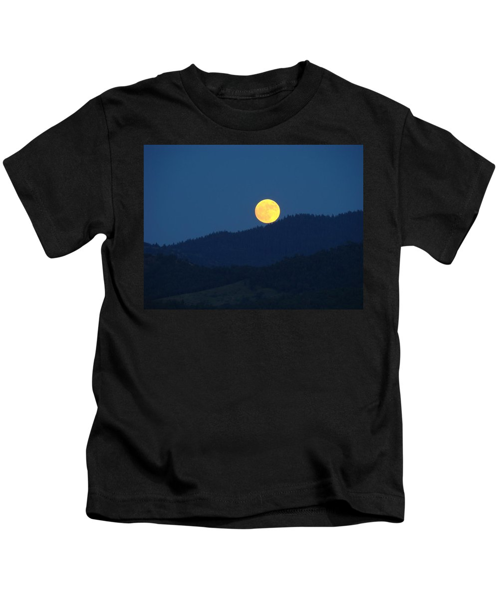 Moon Kids T-Shirt featuring the photograph Moon Orange Full Moon Blue Twilight Mountains Giclee Art Prints by Baslee Troutman