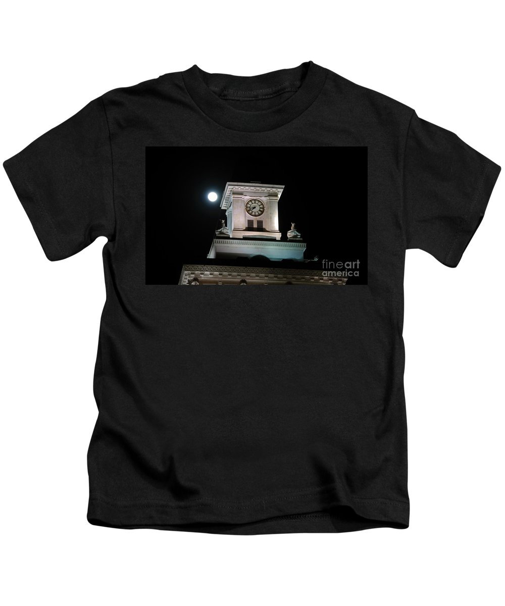 Full Moon Kids T-Shirt featuring the photograph Moon Over City Hall by David Lee Thompson