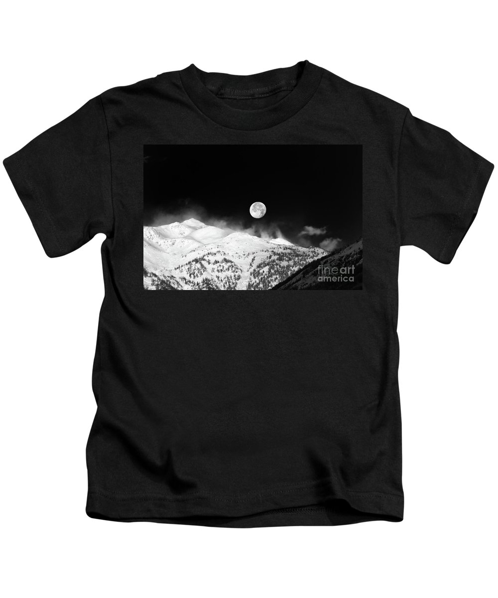 Moon Kids T-Shirt featuring the photograph Moon Over The Alps by Silvia Ganora