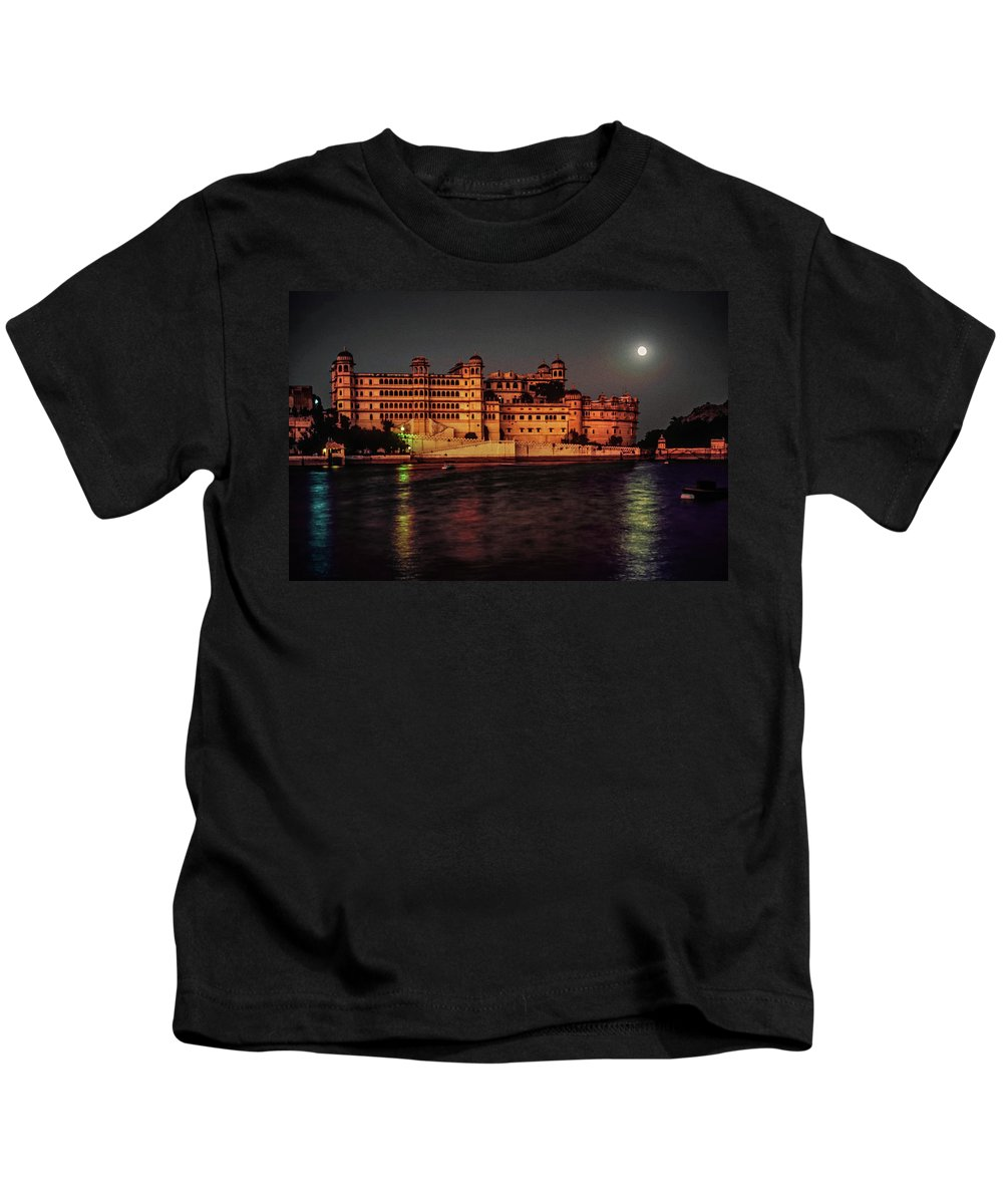 India Kids T-Shirt featuring the photograph Moon Over Udaipur by Steve Harrington