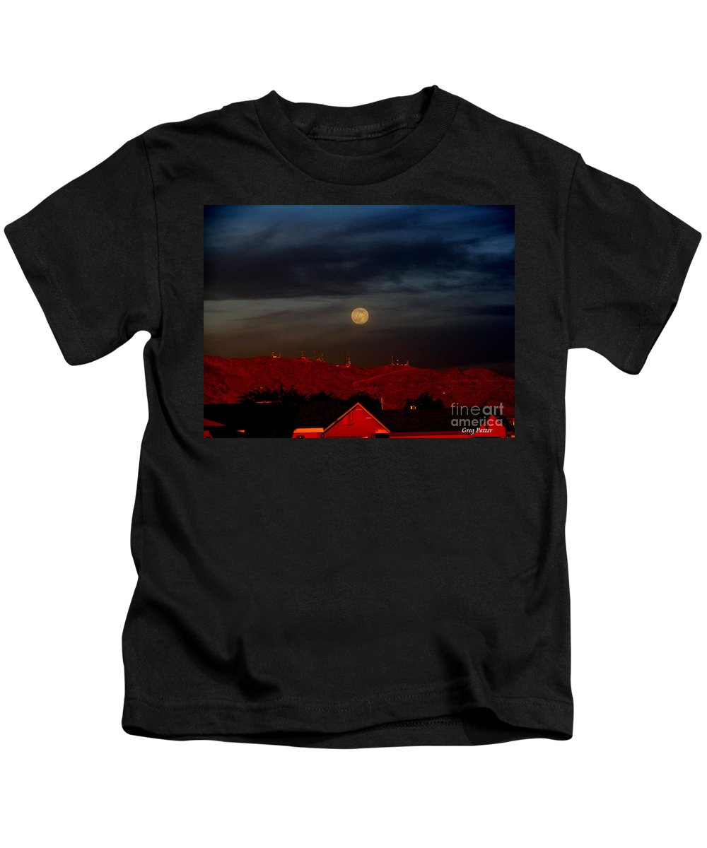 Patzer Kids T-Shirt featuring the photograph Moon Over Yuma by Greg Patzer